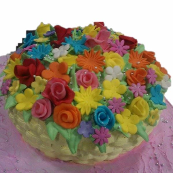 Basket of Colourful Flowers Cake