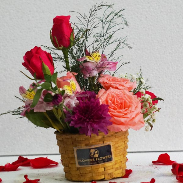 Basket of Love With Flowers