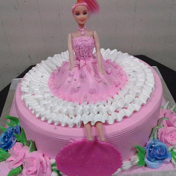 Pink Puffy Dress Cream Cake
