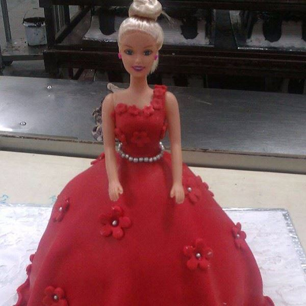 Red Flower Gown Doll Theme Cake