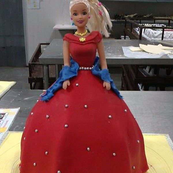 Red Gown Fondant Cake
