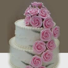 Flowing Pink Flowers Cake WC14 Cream Fondant