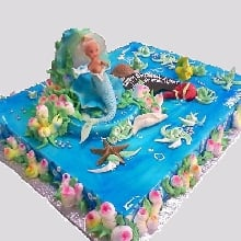 Mermaid in Ocean Cream Fondant Cake