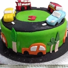 My Car Track Cream Fondant Cake