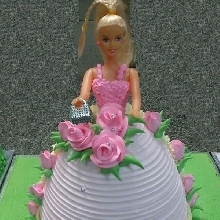 Pink Rose Gown Doll Theme Cake