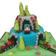 Tunnel Trains Fondant Cake