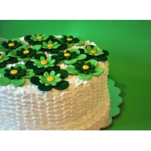 White Flower Basket Cream_Fondant Cake